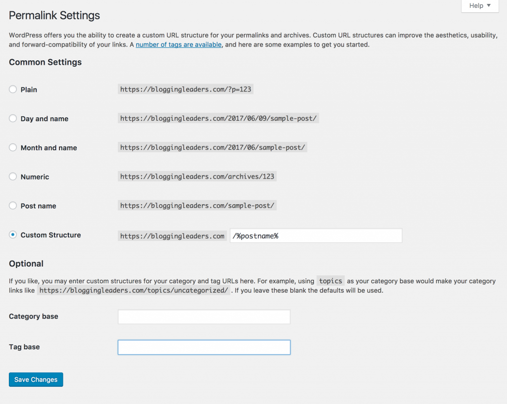 Wordpress Tag Permalink Settings